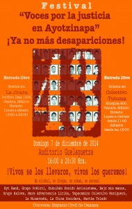 """Festival """"Voces por la justicia en Ayotzinapa""""*"""