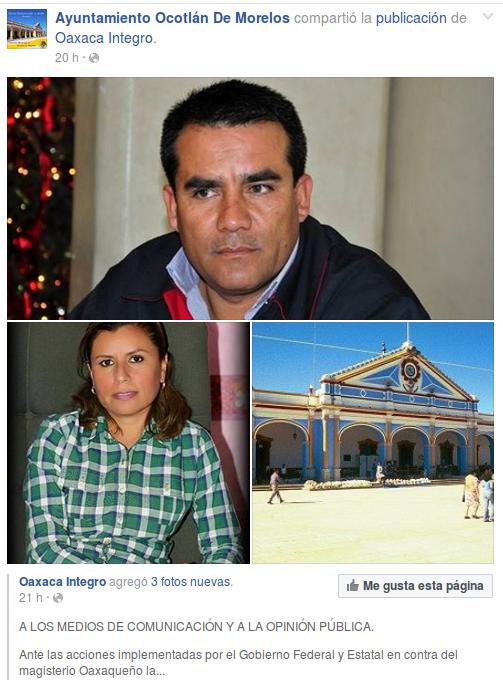 Condena Ayuntamiento de Ocotlán de Morelos represión a maestros.
